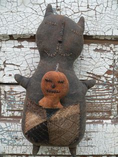 Primitive Black Cat Cupboard Doll and Pumpkin by stitchinsewprim, $45.00