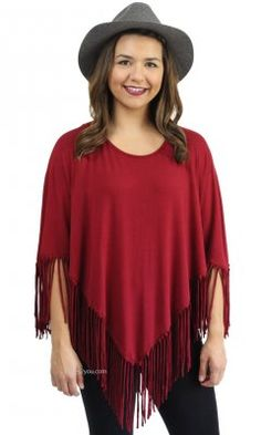 Elysia Fringe Top With Sleeves In Burgundy. How adorable is this red tassel poncho? It can easily be worn any basic top to make a huge statement! Suits For Women, Jackets For Women, Clothes For Women, Ladies Jackets, Clothing Items, Boutique Clothing, Red Clothing, Cool Outfits, Fashion Outfits