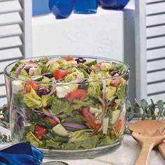 Greek Tossed Salad Recipe -- add artichoke hearts and sundried tomatoes