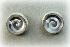 """The mystic Spiral"" quartz reverse intaglio earrings"