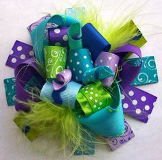 Hair bow, Hair bows, Hairbow-Funky Loopy Fabulously Fun Pretty As A Peacock Boutique Hair Bow-Funky Fun-Over The Top Deluxe Hair Bow on Etsy, $9.99