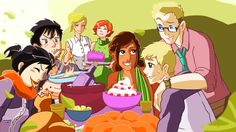 OMG! It´s Silena eating with her dad (Percy), while Annabeth and Rachel are seeing them. And there is Piper, Jason and their son, Jack