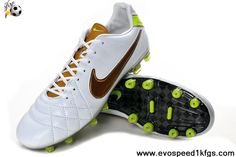 2013 New White-Gold Pale Green Nike Tiempo Legend IV Elite FG Soccer Shoes On Sale