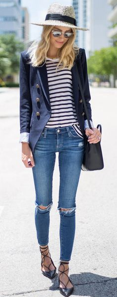 summer outfits Navy Blazer + Striped Top + Ripped Skinny Jeans