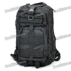 Outdoor Water Resistant Backpack Bag - Black