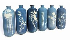 Studio Glithero  Cyanotype vases.