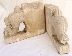 Stone Elephant Bookends / SOLD
