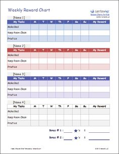Screenshot of the Weekly Reward Chart for Children in Excel 2010