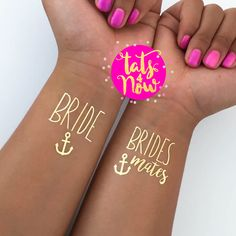 "Bachelorette party MUST HAVE!!! Great for a wedding favor, perfect for bridesmaids and a hit for your bachelorette party. You will receive a total of 16 gold temporary tattoos - 14 of our ""Brides Mate"
