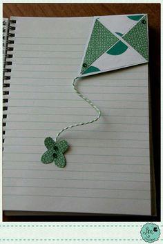 Paper kite bookmark. Marcador de libros de papel en forma de barrilete / cometa.