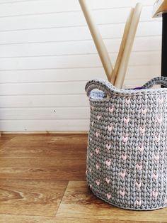 Large grey crochet basket/Storage Basket/Scandinavian Basket/Storage knitting basket /Nursery basket/Nursery Decor/Cotton basket by MyCozyStudio on Etsy Basket Storage, Knit Basket, Nursery Decor, Household, Tote Bag, Purses, Knitting, Trending Outfits, Tricot