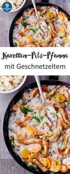 Karotten-Pilz-Pfanne mit Geschnetzeltem - My list of the most healthy food recipes Low Carb Recipes, Cooking Recipes, Healthy Recipes, Vegetable Stew, Eat Smart, Slow Cooker Beef, Soul Food, Food Inspiration, Stuffed Mushrooms