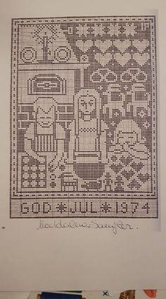 Nordic Christmas, Christmas Cross, Filet Crochet, Cross Stitch Embroidery, Cross Stitch Patterns, Russian Cross Stitch, Christmas Embroidery, Blackwork, Needlepoint