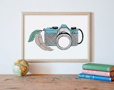 Camera wall art, vintage camera, printable art    *** The high resolution file (JPEG) any size between 5x7 and 16x20 (you can print it as