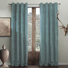 befc30187 twopages Grommet Top Modern Minimalist Cyan Solid Polyester Energy Saving Curtain  Drapes Multi Size Custom (One Panel)