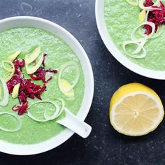 this probably is the most quick & easy recipe i've ever posted. it's the 2 minute green peanut soup – raw, vegan, and great both hot or cold. throw some pean. Vegan Soups, Raw Vegan Recipes, Vegan Dinner Recipes, Organic Recipes, Veggie Recipes, Soup Recipes, Whole Food Recipes, Healthy Recipes, Vegan Food