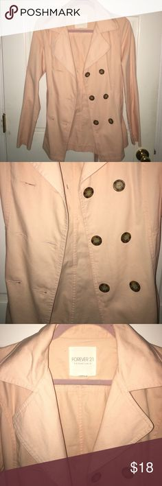 Peach jacket! Super adorable peach lightweight jacket with buttons along the front and a tie. Super cute color :) worn maybe one time! In really good condition Forever 21 Jackets & Coats