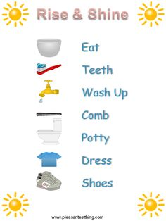 Morning Routine chart for preschoolers to rise and shine - great start for the school year!