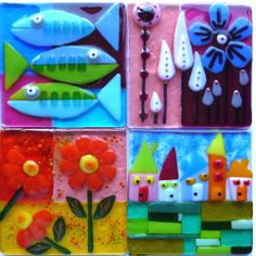 fused glass art flowers houses and fish.jpg Love the fish and houses! Slumped Glass, Fused Glass Art, Mosaic Glass, Art Flowers, Flower Art, Glass Aquarium, Kiln Formed Glass, Glass Christmas Tree Ornaments, Glass Dishes