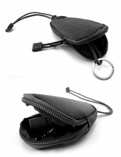 Mini Outdoor EDC Carrying Bag Portable Key Purse Wallet Travel Key Pouch with Inner Stainless Key Ring Black Key Wallet, Key Pouch, Purse Wallet, Coin Purse, Molle Bag, Smartphone Holder, Outdoor Tools, Change Purse, Black Rings