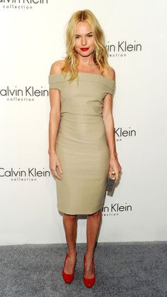 A nude dress looks gorgeous with red heels! (Kate Bosworth in Calvin Klein)