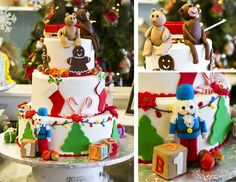 The Dewey's decorators created this toy-themed cake for Twin City Santa's Miracle of 5th Street celebration, which collected toys for the Salvation Army's toy drive. Cake # 004.