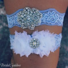 SALE-Bridal Garter Set - Toss Garter - Bridal Garter -Wedding - Bride - Blue Garter-Something Blue. $20.00, via Etsy.