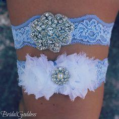 SALE-Bridal Garter Set - Toss Garter - Bridal Garter -Wedding - Bride - Blue Garter-Something Blue. $20.00, via Etsy.