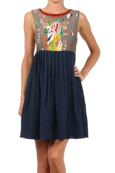 Abstract Design Tank Dress With Pleated Skirt
