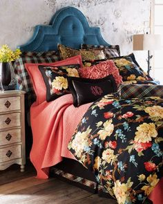 traditional-bed-pillows padded bedhead black coral floral quilt