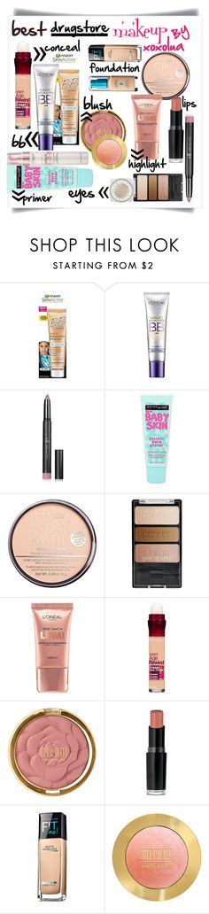 """Best Drugstore Makeup"" by xoxolua ❤ liked on Polyvore featuring beauty, Garnier, L'Oréal Paris, Forever 21, Maybelline, Rimmel, Wet n Wild and Milani"