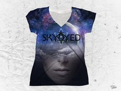 """Skydyed """"High Enough"""" Women's V-Neck T-Shirt by Pulse Of Prophets Part of the Skydyed x Pulse Of Prophets collaboration series This piece is printed exclusively V Neck T Shirt, Vibrant Colors, Street Wear, Swag, Bring It On, T Shirts For Women, Pop, Mens Tops, How To Wear"""
