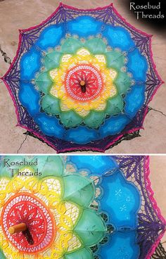 Rainbow Lace Parasol Umbrella 30 dyed by hand by rosebudthreads