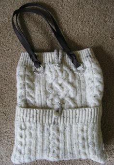 S.K.Pack - recycled sweater purse made for a client. Love the way the ribbing is used along the top and the pocket.