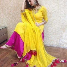 : Georgette with moti Inner :- Silk Fully Stitched up to xxl size 👸**PALZO** Fabric: Pepaer silk Fully Stitched up to xxl size 🧜♀**Dupatta** :- Georgette with les with moti Stitching Type : Semi-Stitched Occasion : Casual Indian Designer Suits, Designer Salwar Suits, Designer Dresses, Designer Kurtis, Yellow Suit, Yellow Dress, Yellow Punjabi Suit, Punjabi Suits, Plazzo Suits