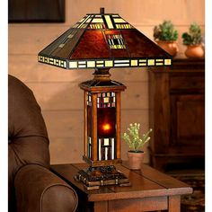 Mission Craftsman Mica Tiffany Table Lamp