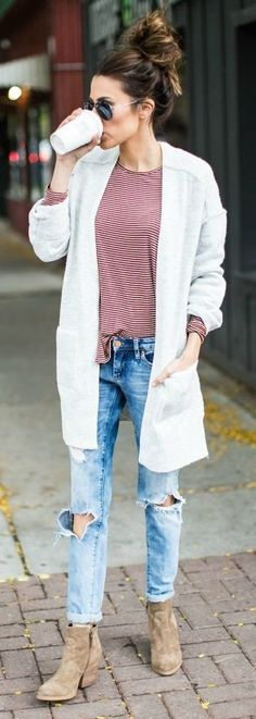 #fall #outfits women's white long coat; red and white long sleeved shirt; blue ripped jeans