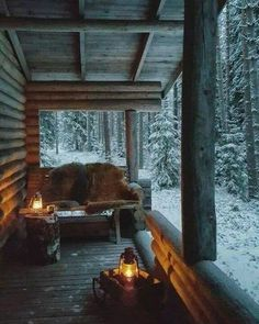 Architecture and Beauty Winter Porch Something about Home Decor Article Body: The creative aspect in Winter Porch, Winter Cabin, Cozy Cabin, Cozy Winter, Snow Cabin, Small Log Cabin, Winter House, Winter Snow, Cabin Homes