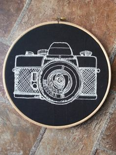 Monochrome Magic by Diane Dawber on Etsy Learn Embroidery, Hand Embroidery Stitches, Embroidery Hoop Art, Vintage Embroidery, Embroidery Patterns, Bullet Journal Banner, Lazy Daisy Stitch, Retro Camera, Vintage Gothic