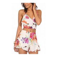 Yoins Floral Print V Neck Cami Crop Top and Shorts Co-ord (€14) ❤ liked on Polyvore featuring tops, v-neck tank top, summer tank tops, loose crop tank, cropped cami and v-neck tank