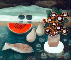 Your Paintings - Mary Fedden paintings Colorful Paintings, Your Paintings, Art And Illustration, Vie Simple, Ouvrages D'art, Royal College Of Art, Still Life Art, Art Uk, Naive Art