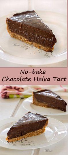 No-bake Chocolate Halva Tart (translator on site) No Bake Treats, No Bake Desserts, Just Desserts, Dessert Recipes, Chocolate Desserts, Chocolate Fudge, Chocolate Lovers, Pie Dessert, Snacks