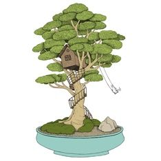 bonsai, treehouse, swing, whimsical