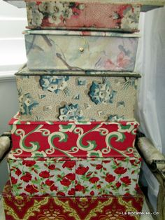 french fabric covered boxes ~ found Correze