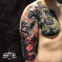 Marvel sleeve and chest colour tattoo by Danny Birch, in our Heart for Art Tattoo Studio, Manchester.  #tattoo #marvel #colourtattoo