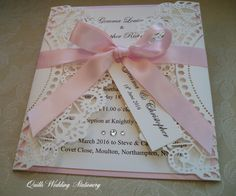 Beautiful Luxury Lace Effect  Wedding by QuillsWeddingFavours www.quillsweddingstationery.co.uk https://www.facebook.com/pages/Quills-Wedding-Stationery/278003989009997