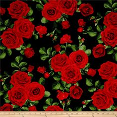 Timeless Treasures Glamour Spaced Roses Black from @fabricdotcom  Designed by Chong-A Hwang for Timeless Treasures, this fabric is perfect for quilting, craft projects, apparel and home decor accents. Colors include shades of red, shades of green, brown and black.