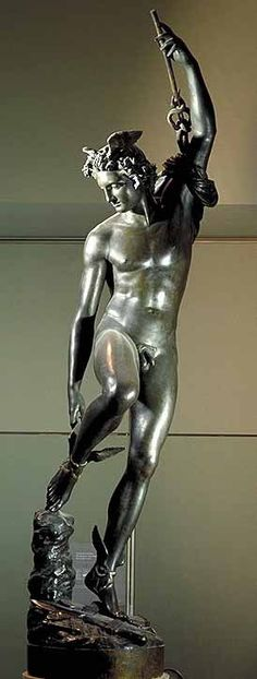 Mercury Fastening His Heel-Wings, preparing to fly back to Mount Olympus after cutting off Argus's head. by François RUDE. 8 feet Bronze (cast by Soyer and Ingé) 1834. Louvre.