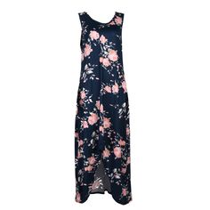 Women Summer Maxi Dress Boho Style Sleeveless Blue Floral Printed Loose Vintage Beach Dress Vestidos De Festa #Affiliate
