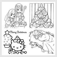 Free Christmas Coloring Pages!! @Noel Bass Bass (not sure if you've seen this or not but there's Hello Kitty :)